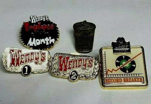 5 WENDYS EMPLOYEE LAPEL PINS Pre-Owned
