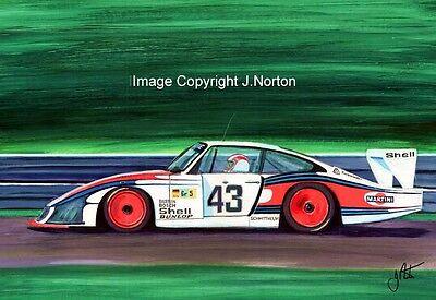 A3 ART PRINT- ROLF STOMMELEN - MOBY DICK PORSCHE 935/78 - LE MANS 1978