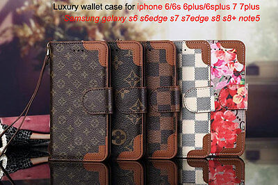 Luxury Famous Flip Grid Leather Wallet Cash Case Cover For Samsung I Phone Lv8