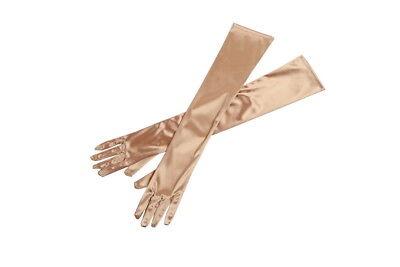 Gold Long Satin Elegant Vintage Opera Party Gloves- Champagne Gold ()