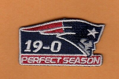 "RARE NEW ENGLAND PATRIOTS 2"" PATCH 19-0 PERFECT SEASON HAT SHIRT Uncirculated"