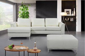Sectional Sofa with Chaise & Ottoman in Fabric & Genuine Leather