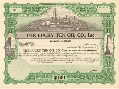 Lucky Ten Oil Co > Vinton Louisiana stock certificate