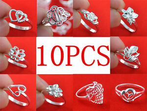 wholesale lots 10PCS 925Sterling Silver Mixed design Ring 6-9   **N169