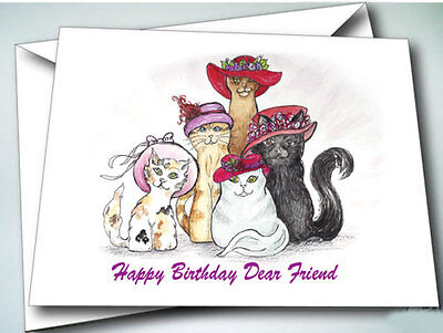 - 6 HAPPY BIRTHDAY DEAR FRIEND CARDS W/ ENVELOPES FOR RED HAT LADIES OF SOCIETY