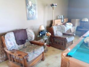 Older couch, chairs, tables