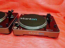 2x Stanton T62 Direct Drive DJ Turntable Record Player
