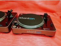 2x Stanton T62 Direct Drive DJ Turntable Record Player