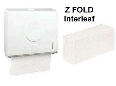 Z Fold Dispenser + 1 PACK WHITE 2ply Paper hand Towels Compact ABS Lockable Wall