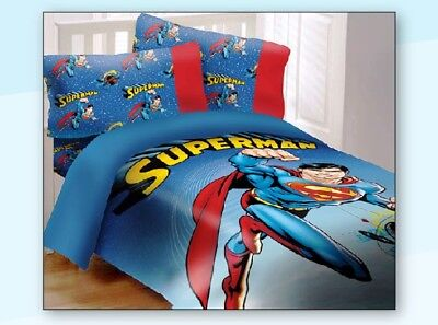 Superman Full Comforter (Licensed DC Superman Universe 4 Piece Reversible Soft Full Size Comforter Set )