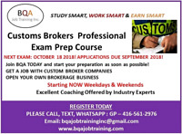 CUSTOMS PROFESSIONAL EXAM PREP COURSE FOR EXAM ON 18OCT
