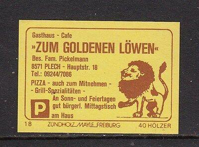 "402009/ Zündholzetikett - Gasthaus ""Zum Goldenen Löwen"" - 8571 Plech"