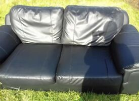 Black leather 3 seater sofa & 2 seater sofa