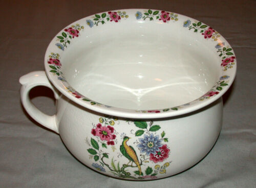 Antique Price & Kensington English Pottery Floral & Bird Design Chamber Pot