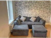 Brand New Dylan Premium Fabric 3+2 / Corner Sofa Suite / Swivel chair / Footstool