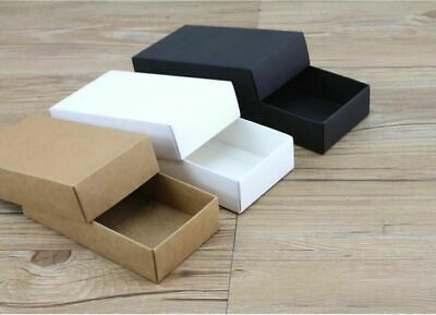 Kraft Black White Brown Gift Box Lid Cardboard Packaging Blank Carton Box 10pcs