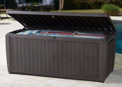Storage Deck Box Outdoor Container Bin Chest Patio Keter 135 Gallon Bench Brown