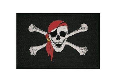 Aufnäher Pirat mit rotem Kopftuch Fahne Flagge Aufbügler Patch 9 x 6 cm