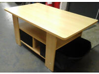 Light wood coffee table with boxed storage