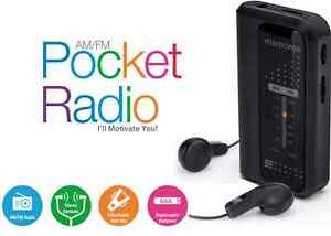 Memorex-AM-FM-Pocket-Radio-Portable-MR4240-Black-Dynamic-bass-system