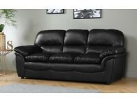 3 seater BLACK LEATHER SOFA GOOD CONDITION - OFFERS or SWAP