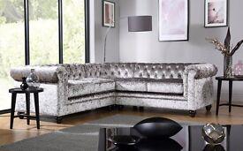 Luxury Handmade Crystal Chesterfield Fabric Suite