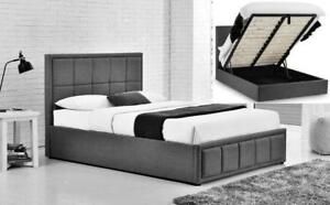 ***Big Winter Sale-Luxury European fabric lift up storage bed (in queen and king)-Free local delivery