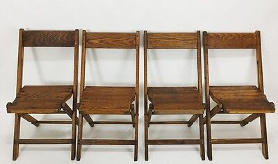 Vintage Antique Snyder Wood Oak Wooden Folding Chairs Set of 4