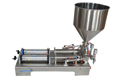 110v 50-500ml Pasteliquid Filling Machine Double Head Piston Filler With Hopper