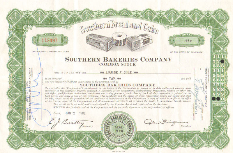 Southern Bakeries Company > 1962 Atlanta Georgia stock certificate