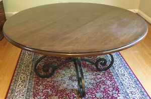 Round Wooden Dining Table (Wrought Iron Base) + 6 Chairs
