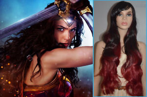 NEW: Deluxe 80cm Black/Wine Ombre Wig for WONDER WOMAN Costume