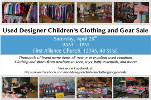 Used Designer Children's Clothing & Gear Sale April 28th 9-1pm
