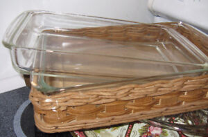 2 Pyrex baking dishes and one basket to go from oven to table