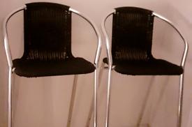 Rattan Black Bar Stool Table Set Of 2