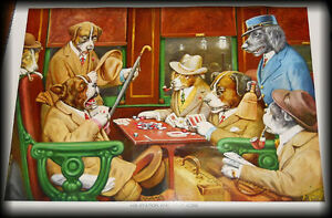 "POSTER ART - "" Dogs playing Poker "" on Train ( 2 )"