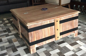 Rustic solid wood storage coffee table
