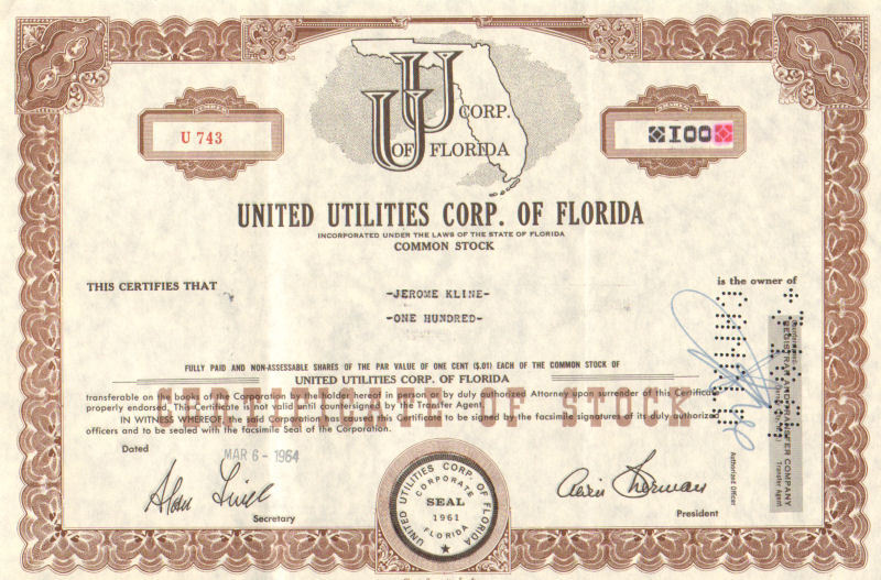 United Utilities Corp of Florida > 1964 Florida old stock certificate