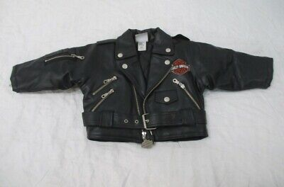 Harley Davidson Childs Toddler Faux Leather Biker Coat Jacket 18M - Toddler Biker Jacket