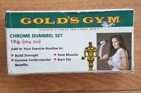 GOLDS GYM CHROME DUMBBELL SET