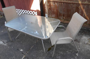 Glass Top Patio Table W/2 Chairs (Chilliwack)