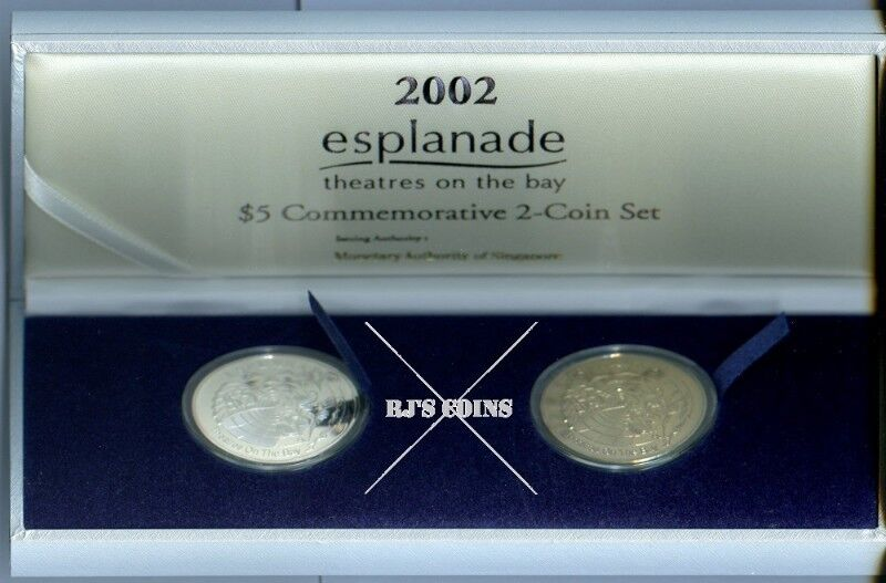 "Singapore 2002 $5 Two-Coin Set issued to commemorate the ""Esplanade"" theatres on the bay"