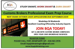TO PASS CUSTOMS EXAM IN 2019 JOIN COURSE NOW IN BRAMPTON