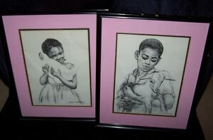 PAIR OF PENCIL SKETCH BY J.MACDONALD HENRY JAMAICAN ART.