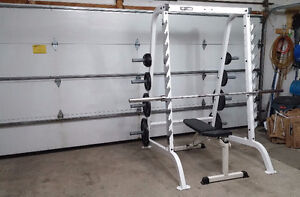 Commercial Grade Half Power Rack + Olympic Weights