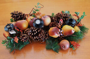 CENTERPIECE TAPER CANDLE HOLDER FRUIT PINECONES BRANCHES