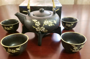 Set of Teapot and 4 Cups and a Base for Teapot-Never Been Used