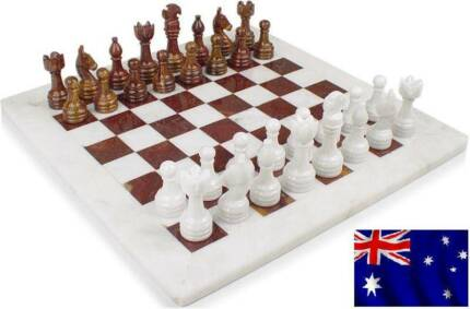 "Marble Chess Set Red & White - 12"" FATHERS DAY SPECIAL Melbourne CBD Melbourne City Preview"