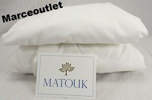 Matouk Sierra 350 Thread Count Cotton Percale QUEEN Fitted Sheet White