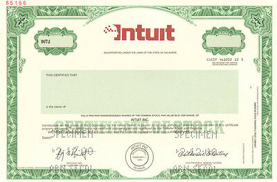 Intuit > maker of TurboTax QuickBooks and Quicken > stock certificate specimen